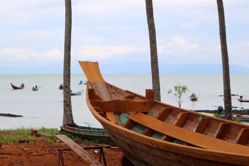 Wood shipbuilding near the sea. stock photos