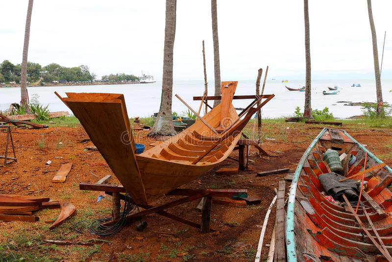 Wood shipbuilding near the sea. stock photography