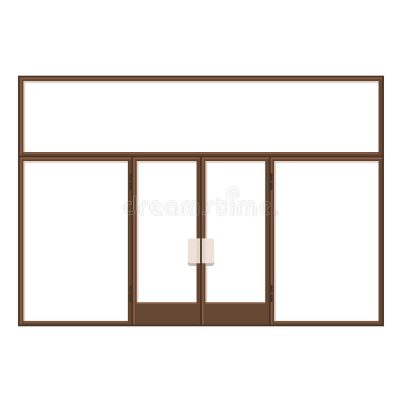 Wood Shopfront with Large Black Blank Windows. Vector. Illustration royalty free illustration
