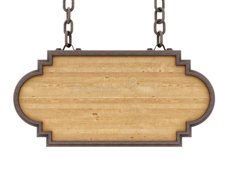 Wood sign. Render of a wood sign, isolated on white vector illustration