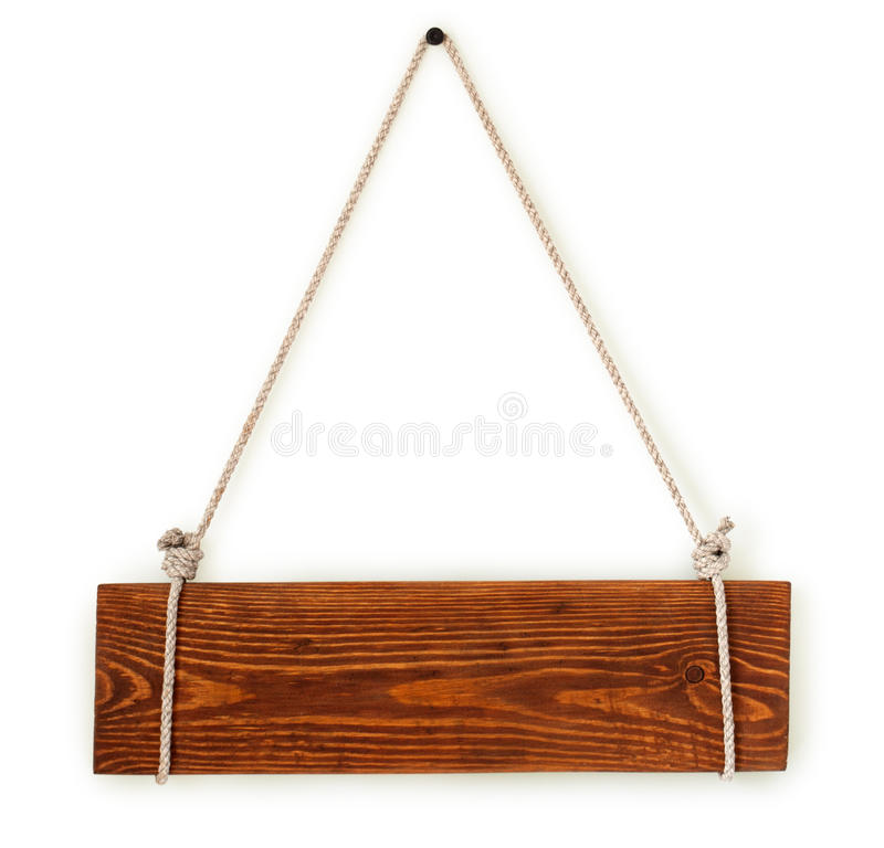 Wood sign board with rope stock images