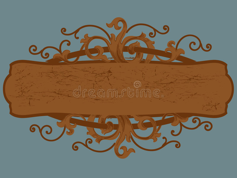 Wood sign cartouche royalty free stock photos