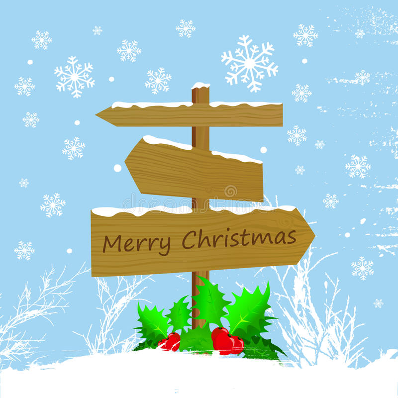 Wood sign with christmas message vector illustration