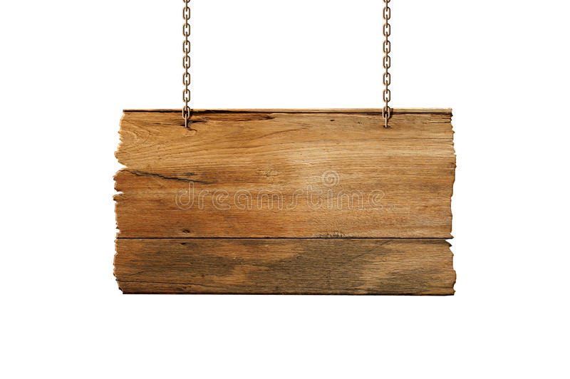Wood sign hang. Hanging wooden sign isolated on white stock photos