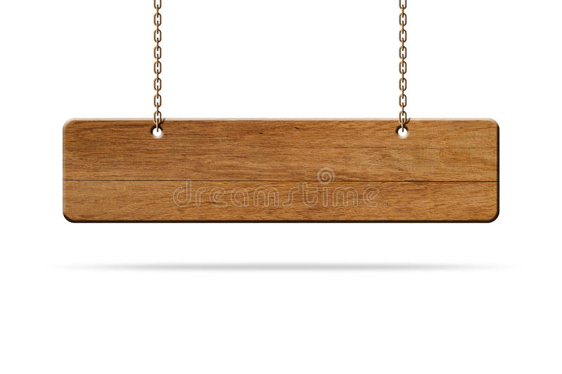 Wood sign hang. Hanging wooden sign isolated on white royalty free stock photos