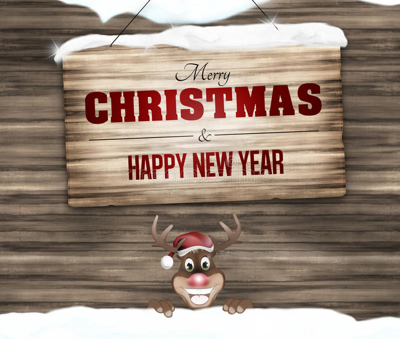 Wood sign merry christmas and happy new year. Creative design graphic stock image