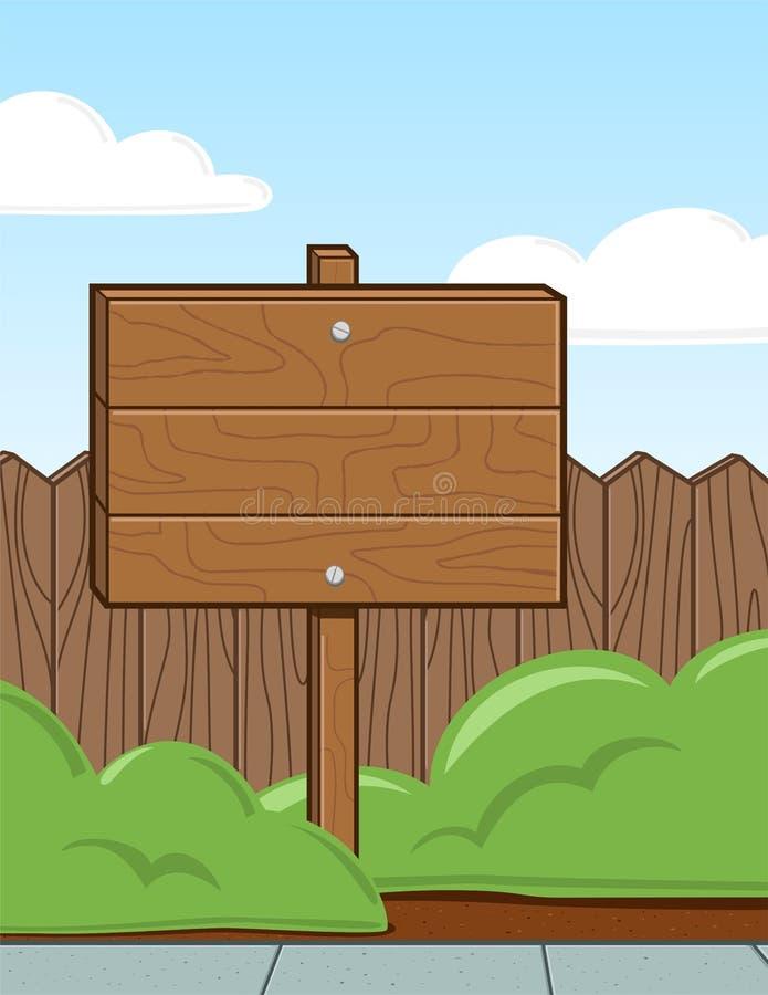 Wood Sign in Yard stock illustration