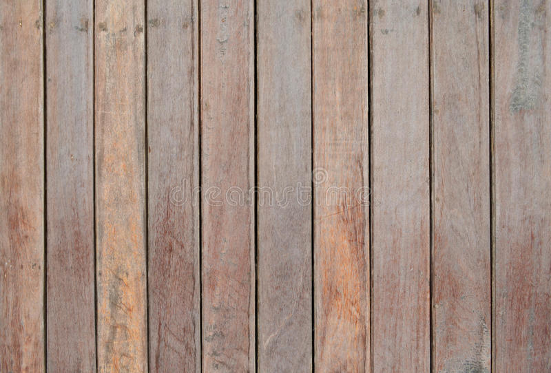 Wood slat floor. Brown wood slat floor fasten with nail for background and texture stock photo