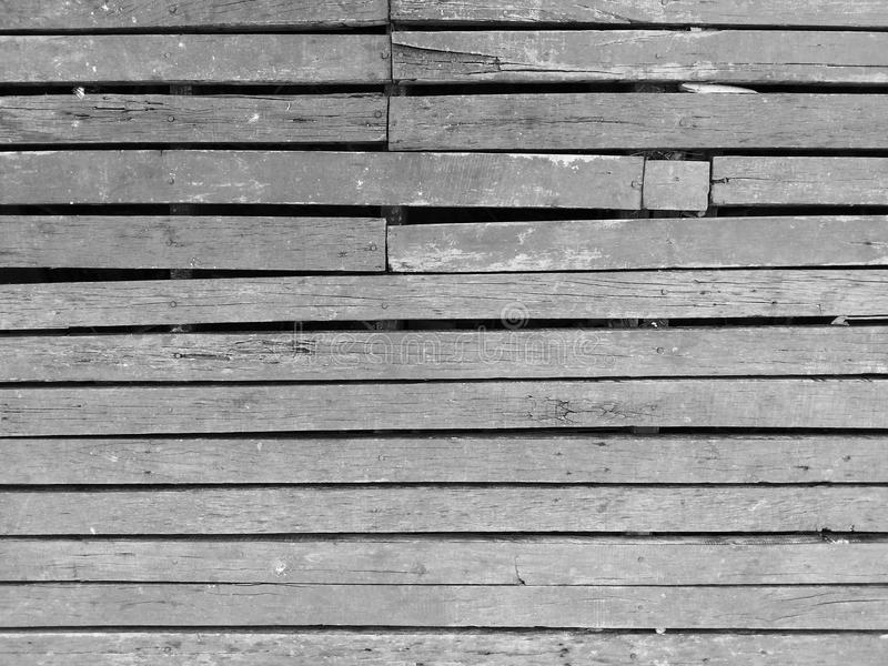 Wood slat floor texture black and white royalty free stock image