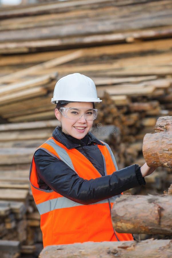 Wood specialist på arbete royaltyfri foto