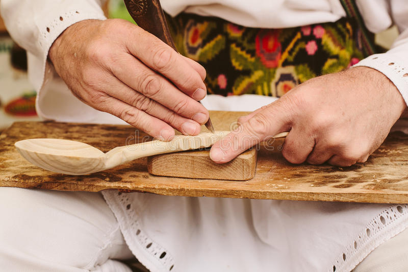 wood spoon carving sculpting romanian craftsmen royalty free stock photography