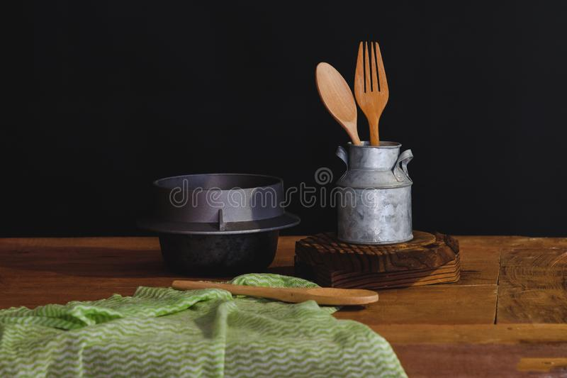 Wood spoon and fork in cup , still life. Concept royalty free stock photos