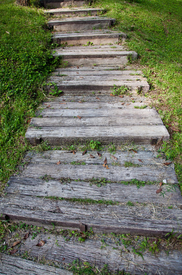 Wood stair stock image