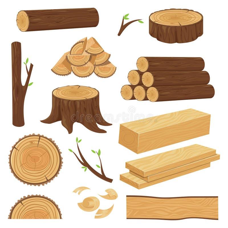 wood stammar Staplat bråtematerial, stam att fatta och vedträ som loggar ris Trädstubbe, isolerad gammal träplanka vektor illustrationer