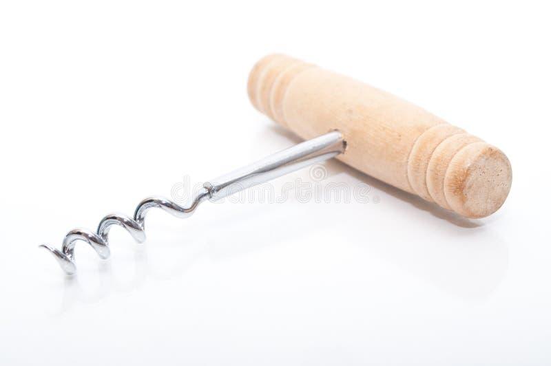 Wood Steel Corkscrew On White Royalty Free Stock Image