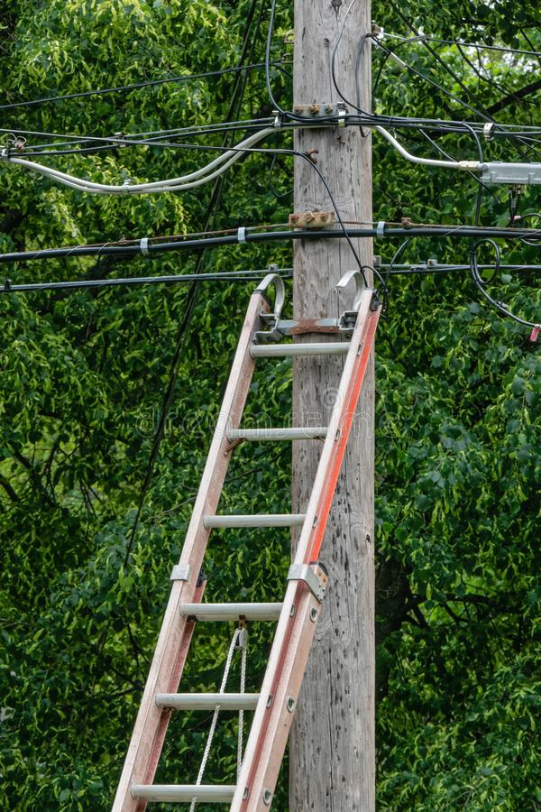 Wood stege mot makt Pole arkivbild