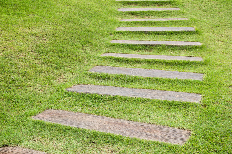 Download Wood step on grass. stock photo. Image of arrangement - 23111952