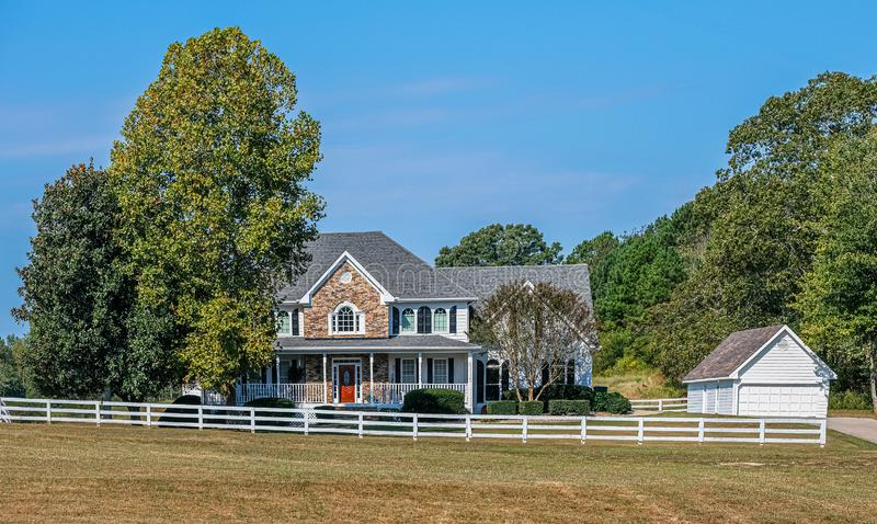 Wood and Stone Farm House. A Nice Wood and Stone Farm House on a Large Lot royalty free stock images