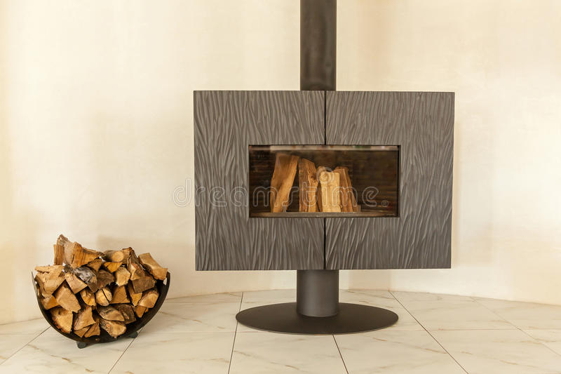 Wood stove-fireplace. royalty free stock photography