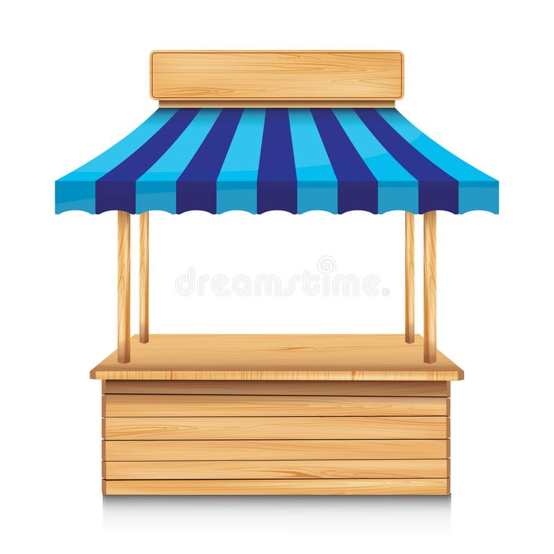 Wood street stall with blue awning and wooden sign on white background. Wooden street stall vector illustration