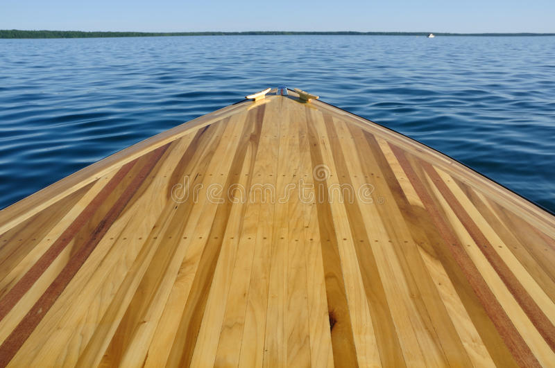 Wood Strip Bow Deck Of Wooden Boat Stock Image - Image: 20372793