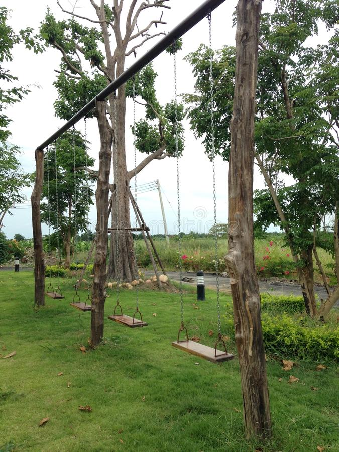 Wood swing stock photos