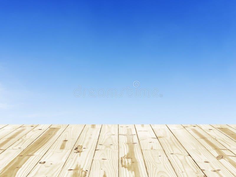 Wood tabellöverkant på klara bakgrunder för blå himmel royaltyfri fotografi