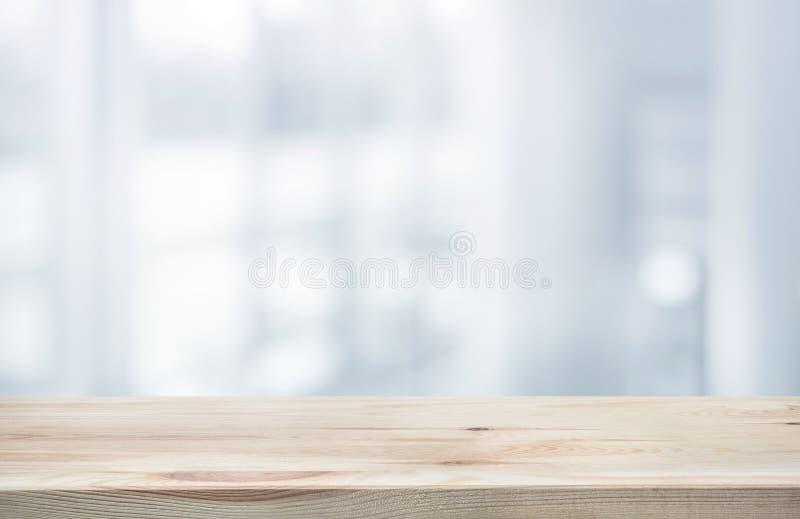 Wood tabellöverkant på kontorsbyggnad för form för vitabstrakt begreppbakgrund royaltyfri fotografi