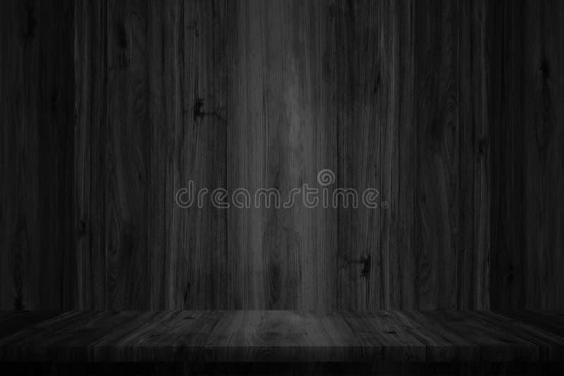 Wood tabellöverkant på svart väggträbakgrund Byggnad som används för royaltyfria foton