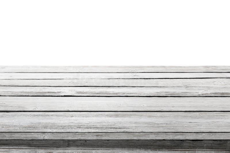 Wood tabellöverkant på vit bakgrund, träskrivbordgolvplankor arkivbild