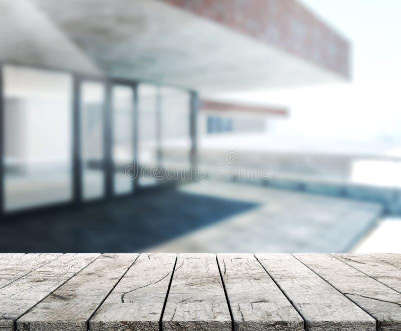 Wood tabell av utomhus- byggnad för bakgrund royaltyfri foto