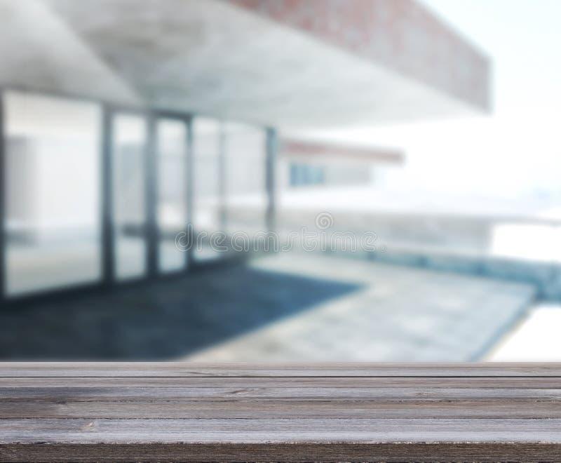 Wood tabell av utomhus- byggnad för bakgrund royaltyfri fotografi