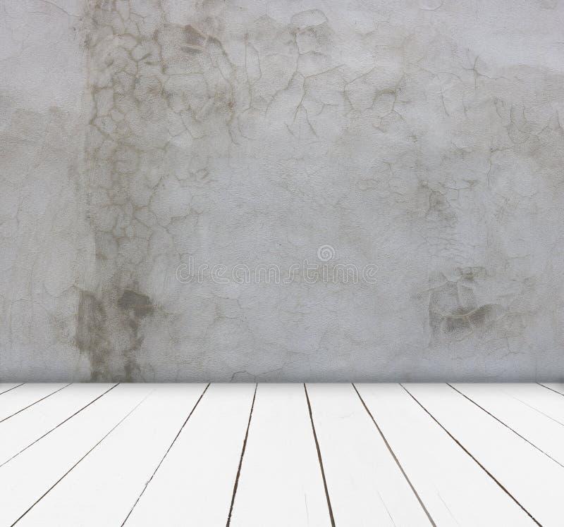 Wood tabell- och cementväggbakgrund kan användas för skärm eller montage dina produkter royaltyfri fotografi