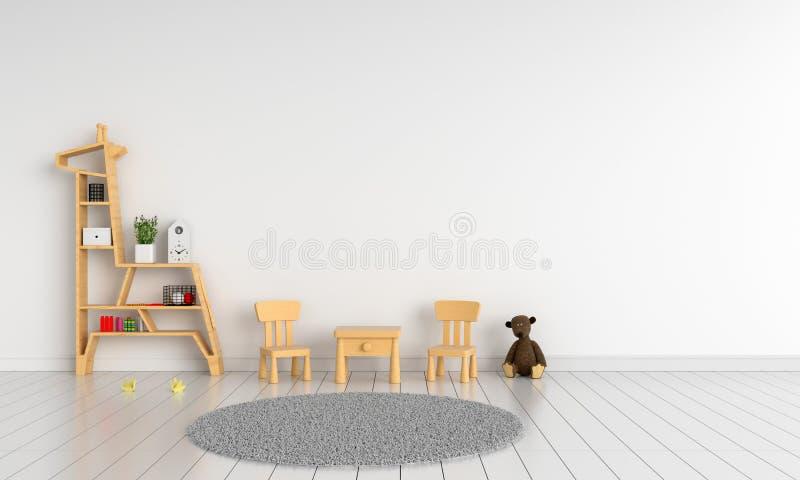 Wood tabell och stol i barnrum för modellen, tolkning 3D royaltyfria foton