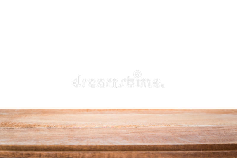 Wood tabell som isoleras på vit bakgrund arkivbilder
