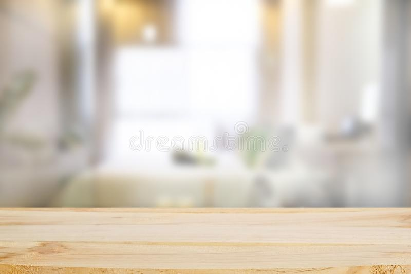 Wood table in bed room with blur background. About Wood table in bed room with blur background stock photography