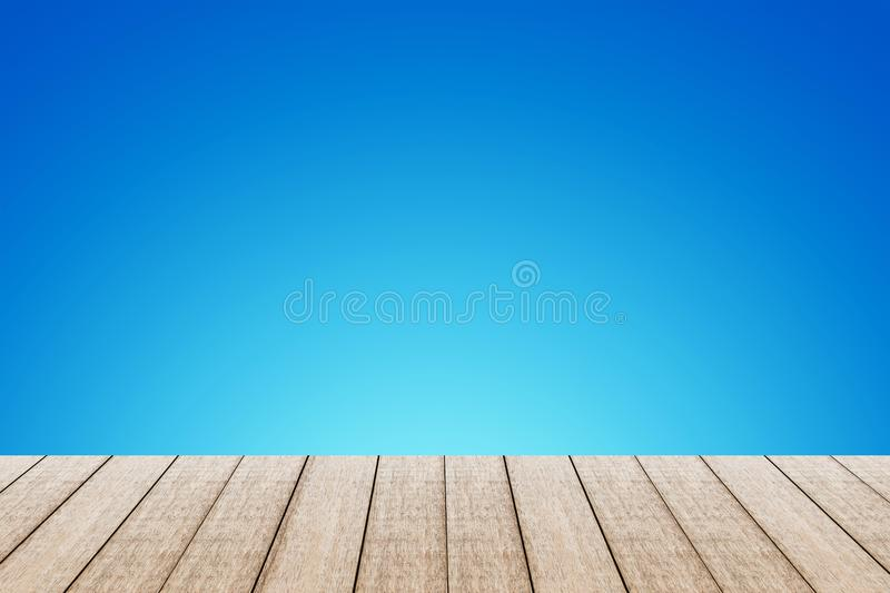 Wood table with blue color. stock photo