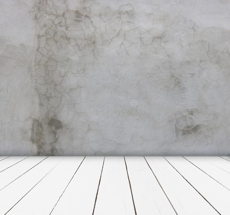 Wood table and cement wall background- can be used for display or montage your products royalty free stock photography