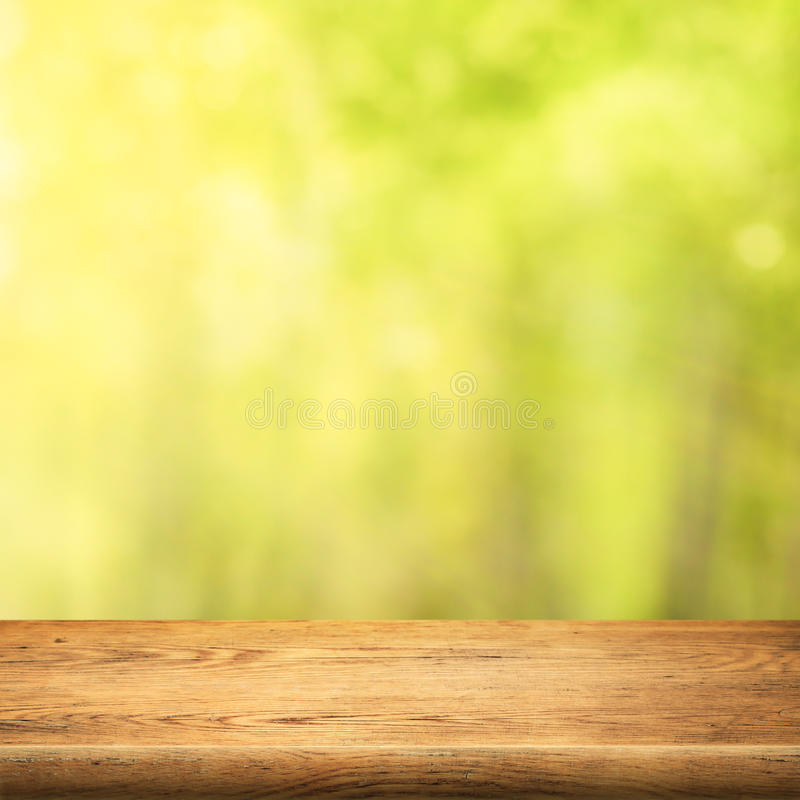 Free Wood Table On Green Summer Forest Background Royalty Free Stock Photos - 45712548