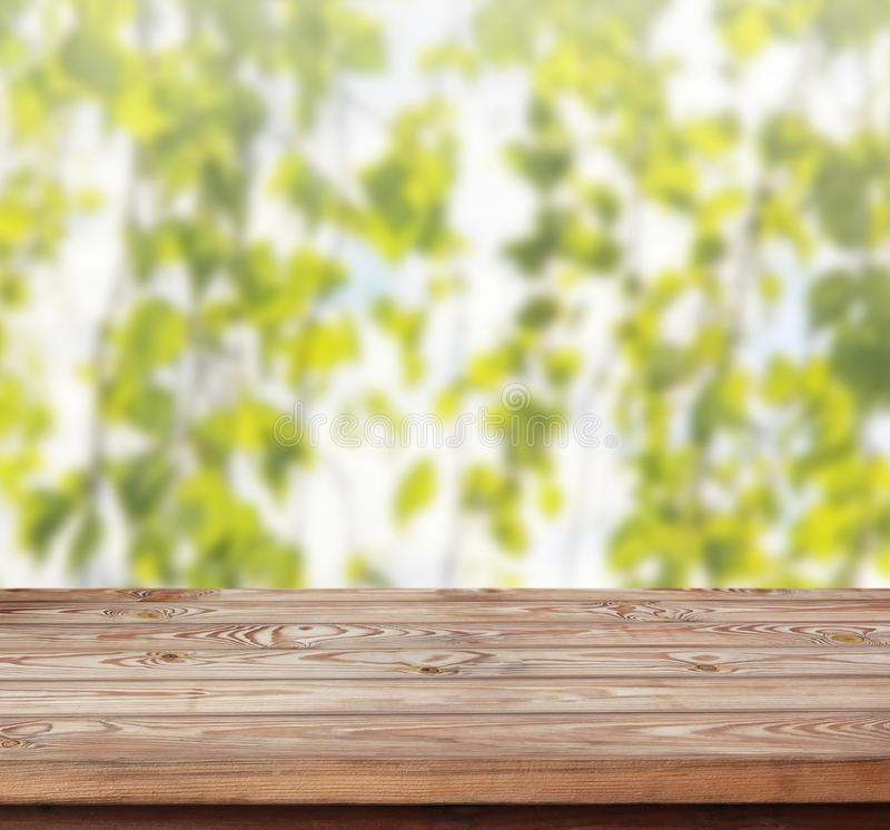 Wood Table Top On Blurred Beach Background Vintage Tone: Abstract Blur Background Stock Photos