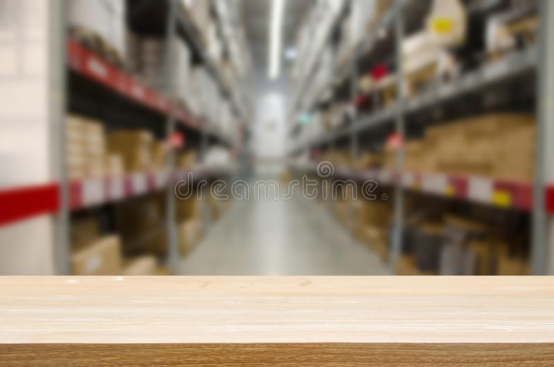 wood table top Blur storage rack stock image