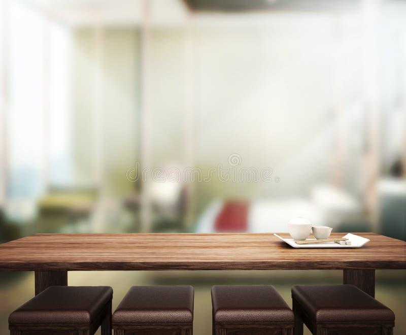 Wood Table Top Background In Bedroom 3d Render Stock Photo Image