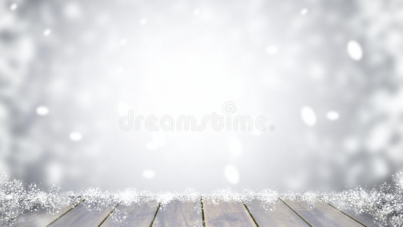 Wood table top on blur Christmas royalty free stock images