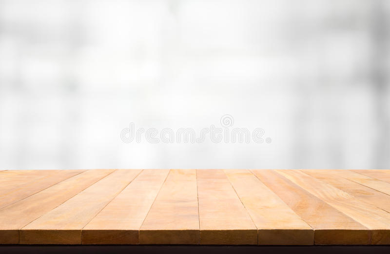 Wood table top on blur white abstract background. For montage product display or design key visual layout background royalty free stock photos
