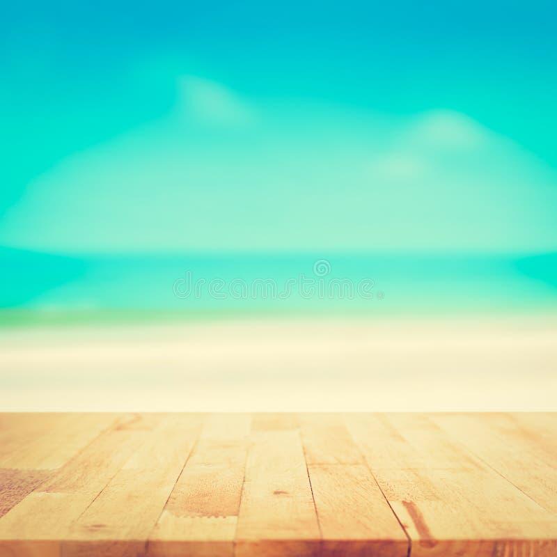 Vintage Beach Background Stock Photo 112981333: Wood Table Top On Blurred Beach Background, Vintage Tone