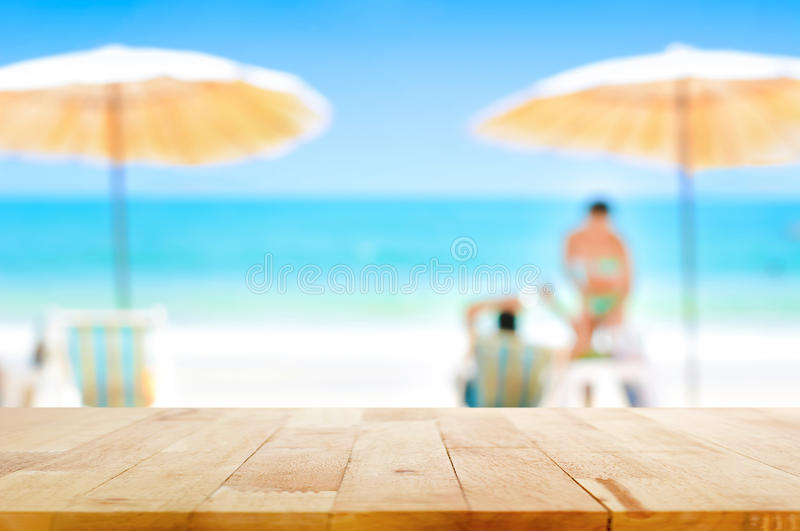 Wood Table Top On Blurred White Sand Beach Background ...