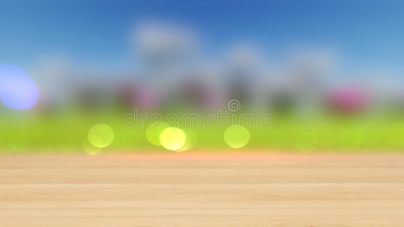 Wood table top on colorful bokeh abstract background 3D render stock image