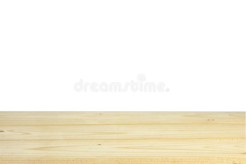 Empty wood table top on white background royalty free stock images