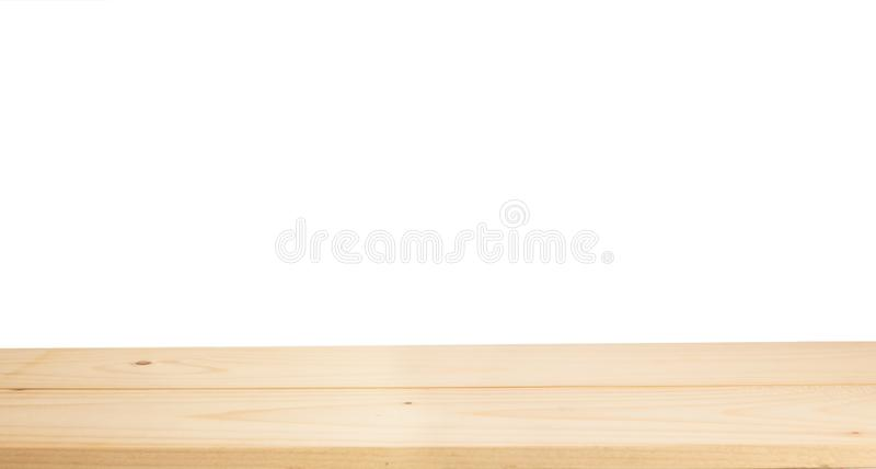 Wood table top isolated on white background stock photography