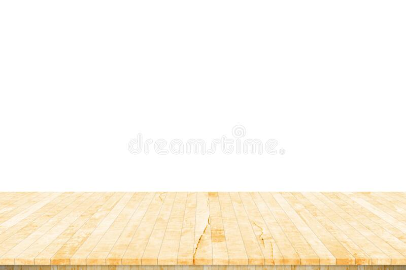 Wood table top isolated on white background. Used for product placement or montage. royalty free stock image